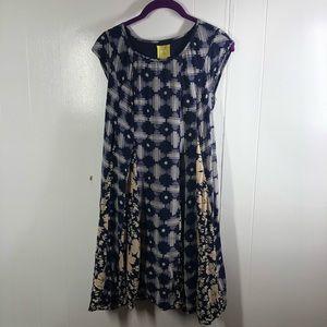 Maeve By Anthropologie Blue & Beige Designed Dress